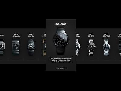 Rado menu navegation detail luxury brand webdesign