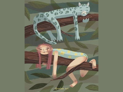LAZY DAY inspire cute illustration love artwork illustraion procreate lazy girl leopard