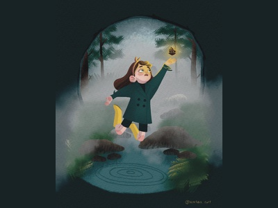 MAGIC CONE art illustration art illustraion colors procreate artwork cute book illustration girl forest magic cone