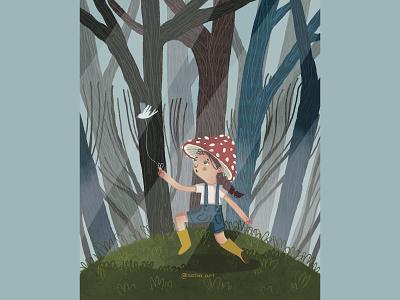 CUTIE MUSHROOM digitalart procreate cute book illustration illustraion bird mushroom