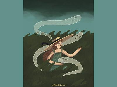 THUNDERSTORM love art girl illustration art colors cute artwork illustraion procreate character ghosts storm