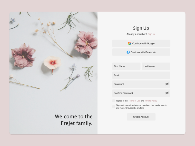 Daily UI #001: Sign Up Page desktop simple soft floral sketchapp challenge web design webdesign sign up page graphic  design graphicdesign user interface design user interface ui dailyui 001 dailyui
