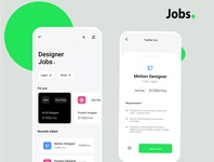 Jobs branding app minimal animation ux ui design