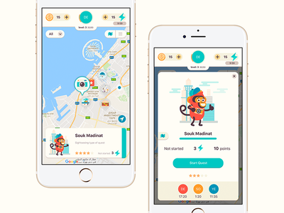 PoGo Travel App Case Study yalantis draw icons monkey character illustration city map navigation iphone mockup travel quest dashboard clean white application game interface ios mobile app