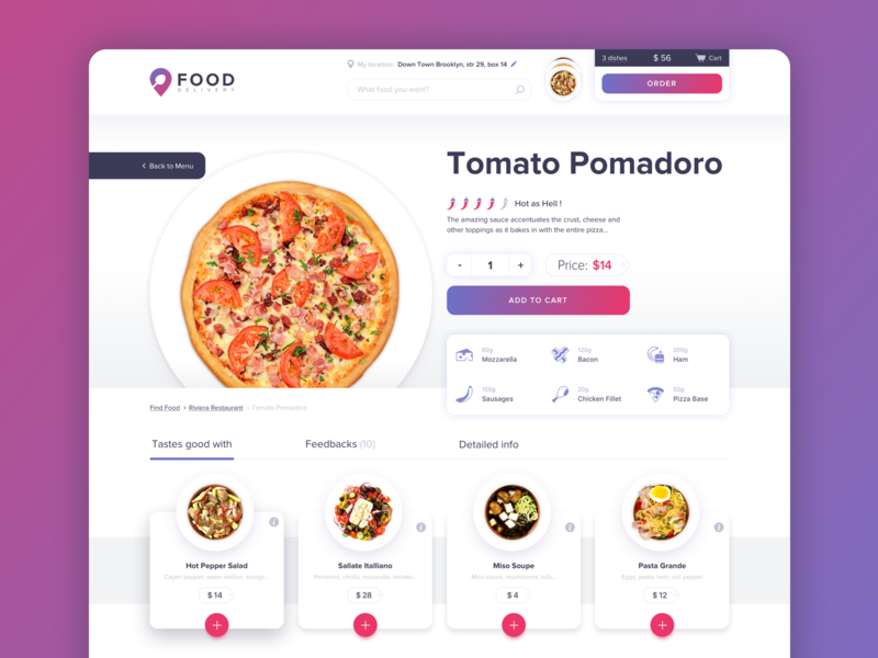 Web Food Delivery Platform – Food Search yalantis clean white app design pizza ordering process product page details adaptive interface dashboard food delivery service web site interface ui ux website
