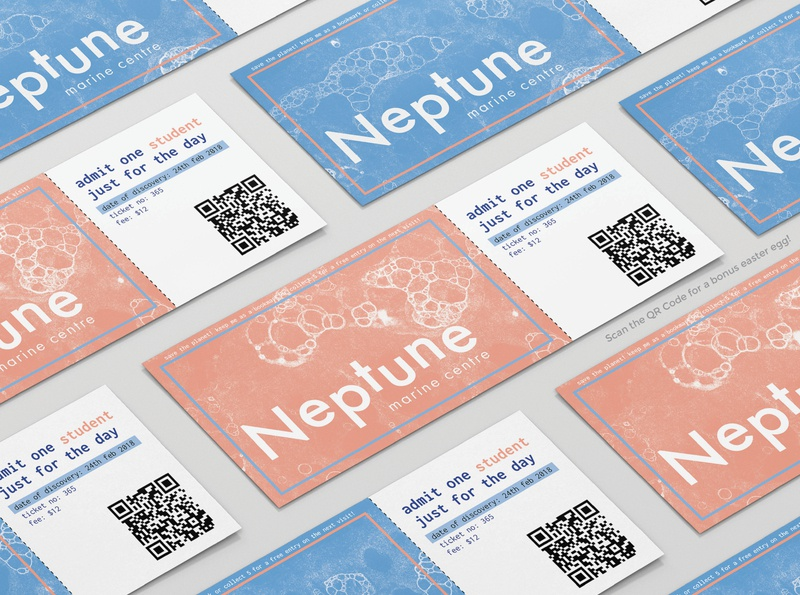 Neptune Marine Center marine aquarium printmedia design ticketing bubble painting illustration branding concept