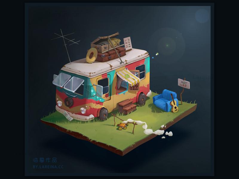 A TRIP painting trip minibus illustration