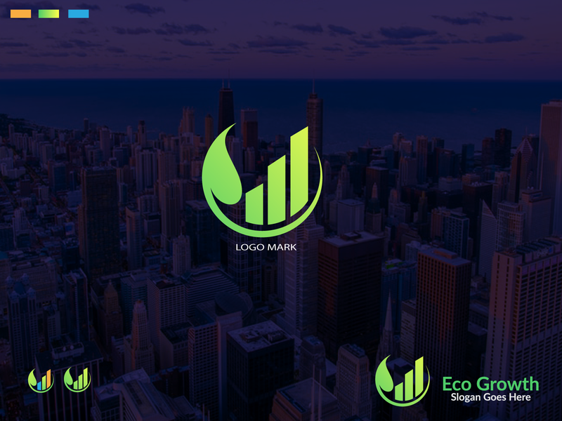 Eco Growth logo design growth finance finance logo ecologo eco ecommerce flat typography vector logo logos logotype illustration branding logo design