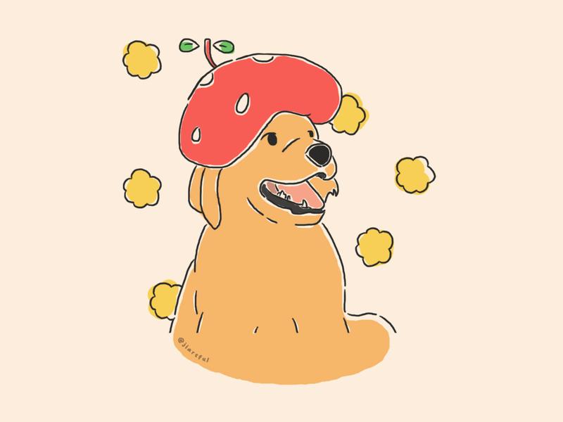 Pup's Strawberry Hat portrait cute portrait clean fruit hat fruit yellow flowers dog illustration thankyou cute dog strawberry hat strawberry dog puppy illustration flat illustration design