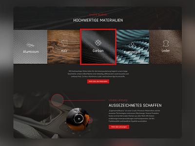 Automotive Interior Webdesign Material Control xd wordpress webdesign ux uiux ui screendesign layout interface company automotive adobexd