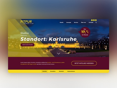 Fitpur Studio Karlsruhe Webdesign Hero xd wordpress webdesign ux uiux ui screendesign layout hero fitness company adobexd