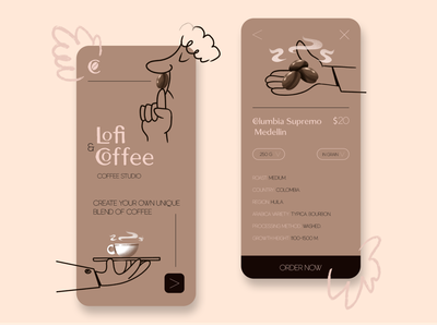 Coffee studio mobile app/illustration comicsart comics ux design logo branding minimal illustration art characterdesign illustration
