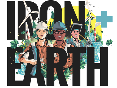 Iron + Earth vector ui logo editorial illustration design artdirection art