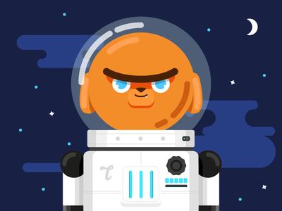 Toby moon star illustration vector dachshund dog space cosmonaut