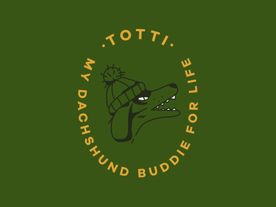Totti lettering dog illustration dachshund crest