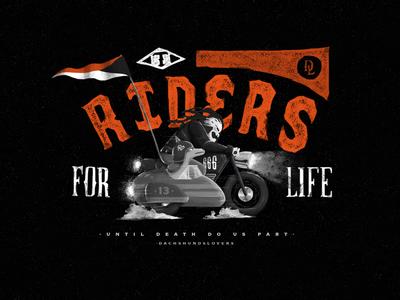 Totti illustration crest handmade lettering motorcycle skull dog dachshund riders