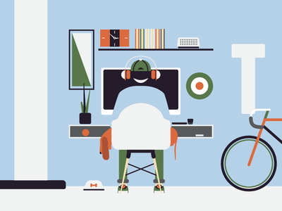 Workspace computer room workspace plant chair illustration vector dachshund dog headphones bicycle