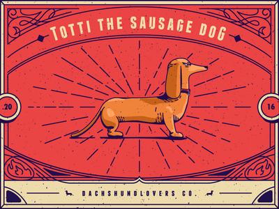 Totti lettering ornament dog vector line illustration sausagedog dachshundlovers