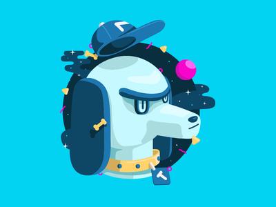 Totti cap bones ball vector illustration dog dachshund