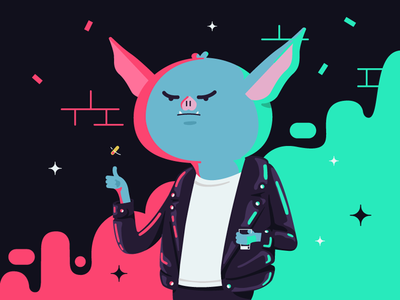 Bat boy vector illustration lights night jacket leather coin badass vampire