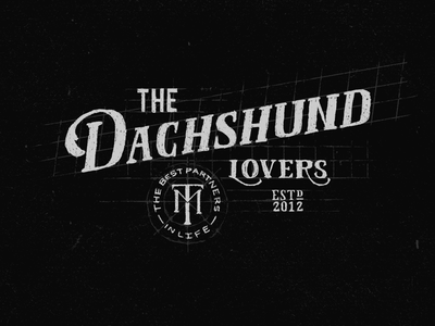Dachshund Lovers type monogram dachshund letters typography grunge guides handmade lettering
