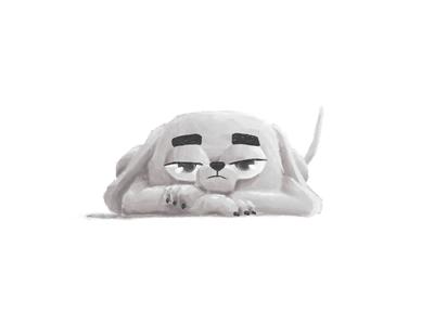 Totti boring grayscale doodle brush illustration dog dachshund