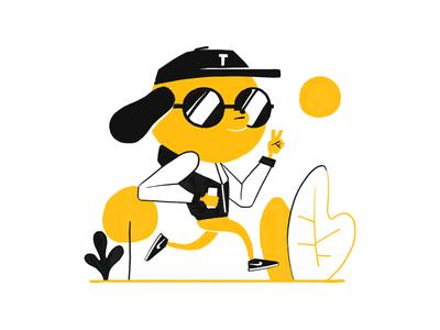 Totti dachshund running adobe doodle sun dog plants nike illustration