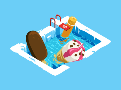 OLA adobe cool isometric vector illustration pool icecream