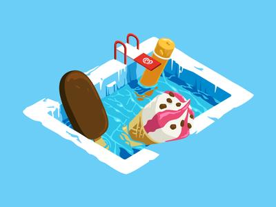 OLA adobe cool isometric vector illustration pool icecream