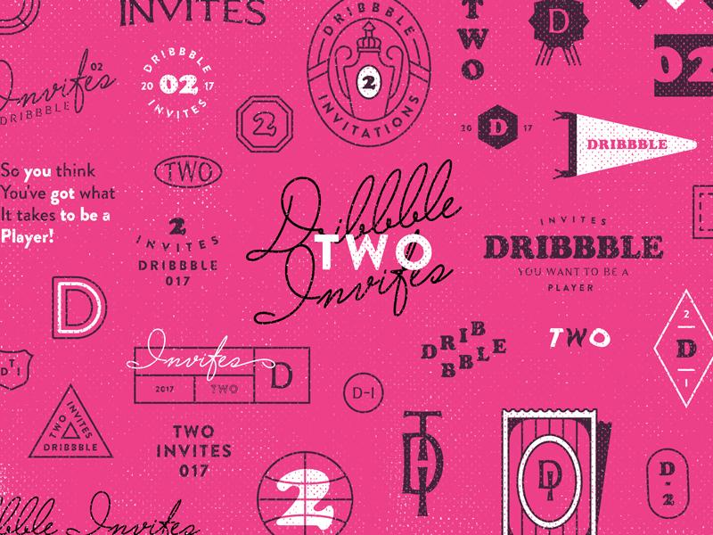 Dribbble Invites illustration invite lettering players halftone flat badge brending dribbble