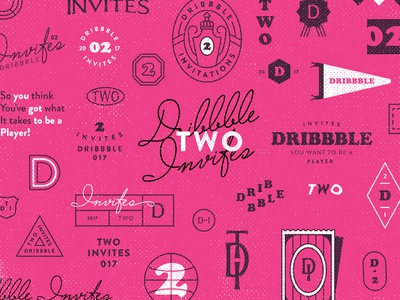 Dribbble Invites illustration invite lettering players halftone flat badge brending dribbble