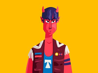 Demon Gang doodle drawing gang flat vector adobe illustrator illustration devil demon