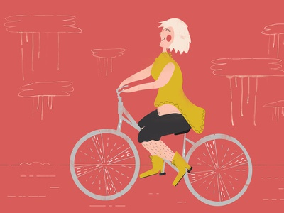 The Prickly Rider clouds rain boots girl bicycle illustration