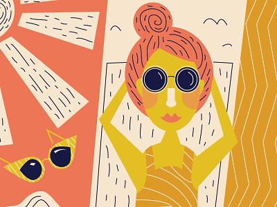 Beach Day sunscreen umbrellas swimsuit sun sunglasses illustration