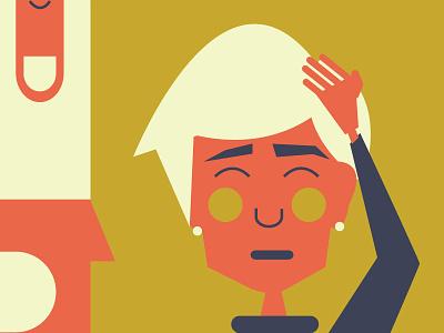 Headache and Migraine Awareness Month  fingers girl pill sick headache illustration