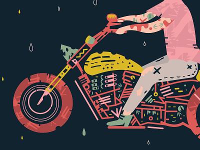 Motorcycle rain motorcycle illustration