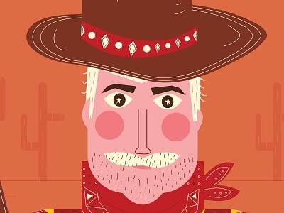 Cowboy Up desert mustache cactus cowboy illustration
