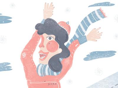 Ski Trip hat snow clouds sweater scarf skier girl illustration ski