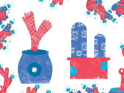 Planted Pots cactus pots plants illustration