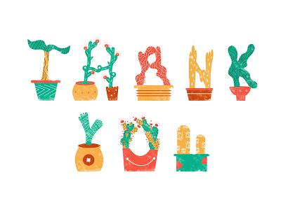 Polite Plants polite thank you cactus leaves pots illustration plants