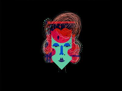 Betty D. hair. lines. neon girl illustration