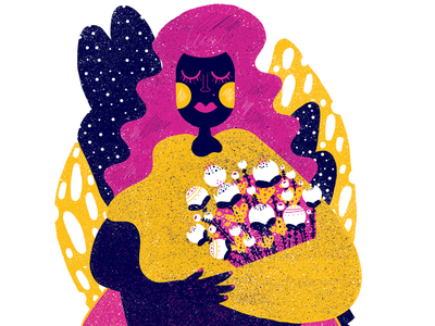 Mother of Plants texture flowers woman illustration plants