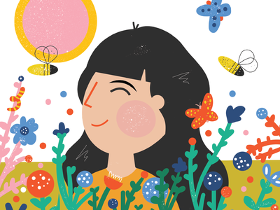 Nature childrens book butterfly flowers plants girl illustration