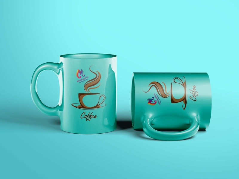 Elegant blue Free Coffee Mug mockup Mockuphut Exclusive coffee cup psd mockup branding design