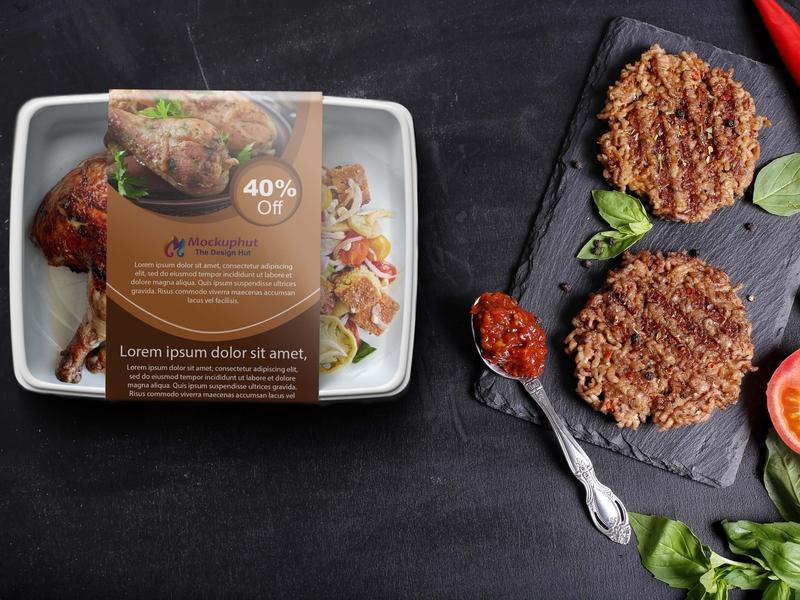 Free Food packaging Mockup Mockuphut Exclusive design illustration psd mockup branding