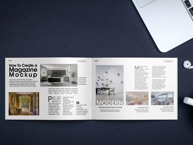 Free Realistic Magazine Mockup Mockuphut Exclusive branding psd mockup design