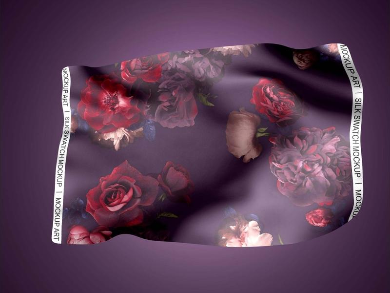 Free Silk Swatch Mockup PSD Mockuphut Exclusive fabric silk branding photoshop freebie psd mockup