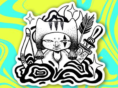Hunter boy digitalart inkdrawing stickerart ink graphic print illustration graphic art digital art illustrations characterdesign character design character