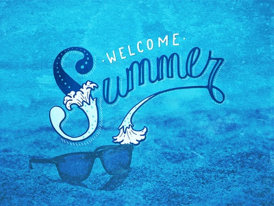Welcome Summer illustration lettering hand drawn handlettering summer solstice fun sun beach summer vintage