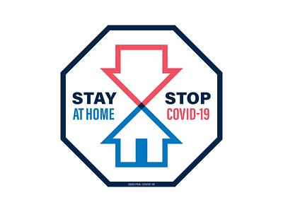 PSA yardsign monoline arrow house octagon stop stayhome coronavirus covid psa